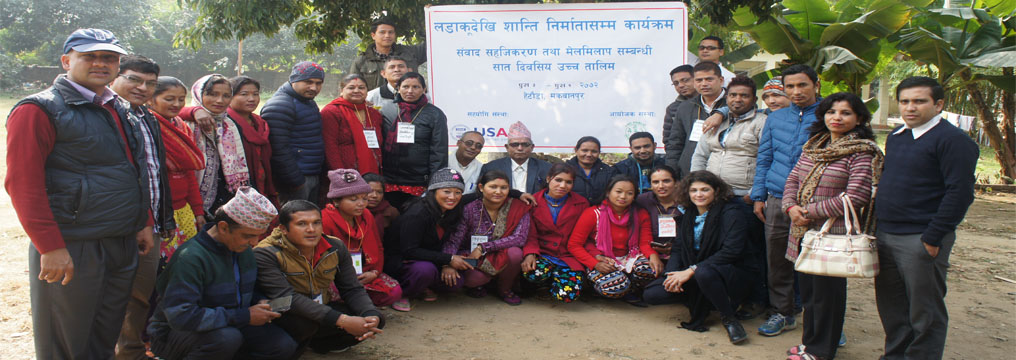 Group photo of participants, guests and trainers in Dialogue facilitation and mediation (advanced training II) at Hetauda, Makawanpur