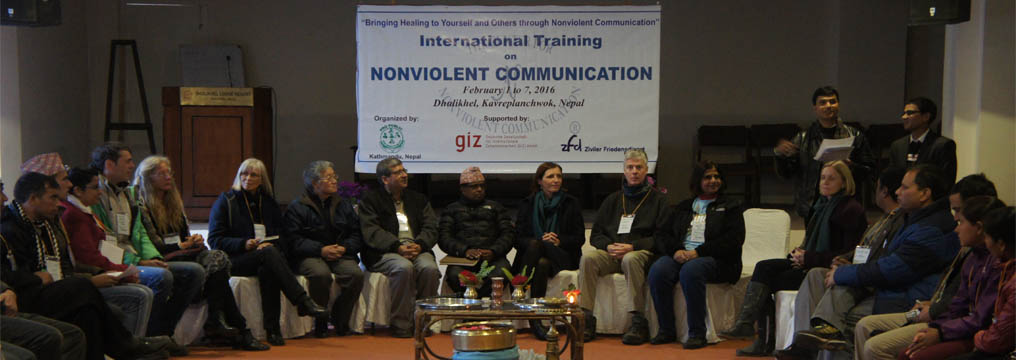 Guests and Trainers during the opening ceremony of International Training on Nonviolent Communication 2016