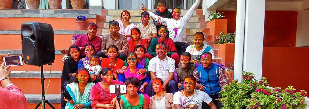 Participants of Psychosocial Training celebrating Holy, festival of colors, at Dhulikhel Lodge Resort
