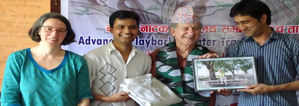 Co-founder of Playback - Dr. Jonathan Fox, being felicitated by the project team at the closing ceremony of Conductors' Training at Butwal