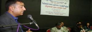 Mr. Bishwa Raj Neupane, Under Secretary of Ministry of Peace and Reconstruction (MoPR) addressing the C2P National Level Experience Sharing Program