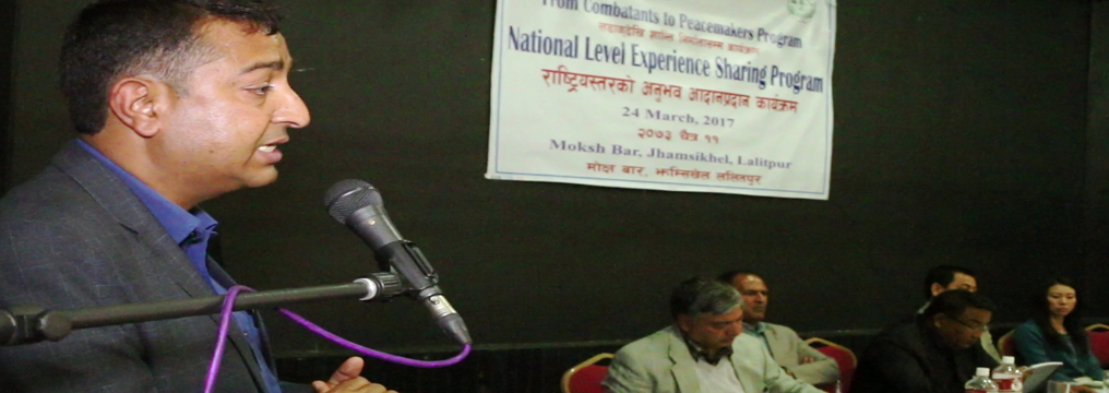 Mr. Bishwa Raj Neupane, Under Secretary of Ministry of Peace and Reconstruction (MoPR) addressing the C2P National Level Experience Sharing Program