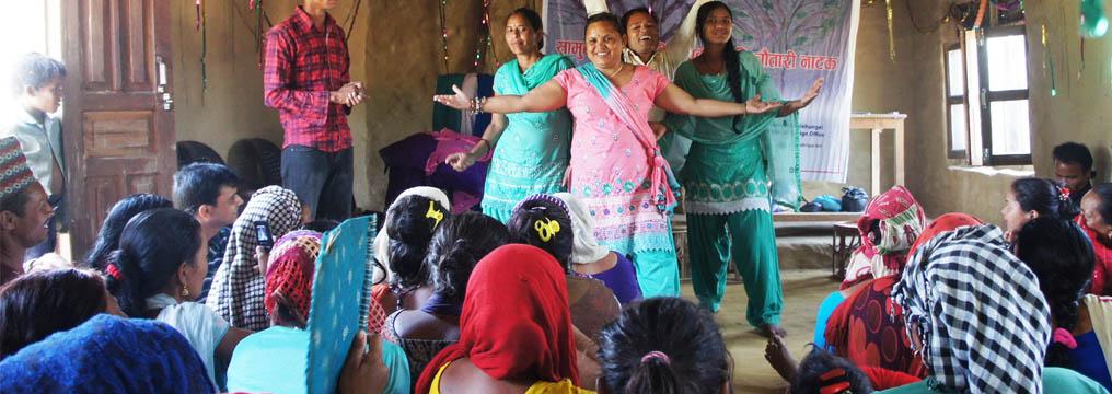 DFs performing Chautari Natak in Gulariya, Bardiya